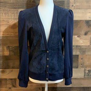 Vintage 80's Blue Suede & Cotton Cardigan Sweater